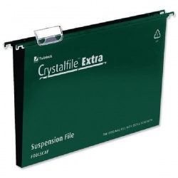 Rexel Crystalfile Extra Suspension Foolscap File Green 50mm (Pack of 25) 3000112