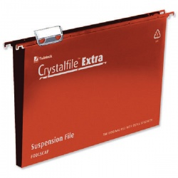 Rexel Crystalfile Extra 30mm Suspension File Red Foolscap (Pack of 25) 70632