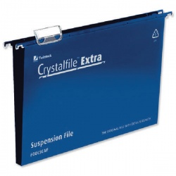 Rexel Crystalfile Extra 30mm Suspension File Blue Foolscap (Pack of 25) 70633