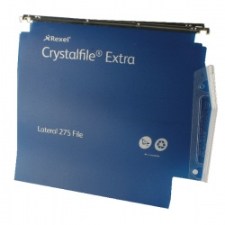 Rexel CrystalFile Extra 275mm Lateral Files 30mm Capacity Blue (Pack of 25) 70642