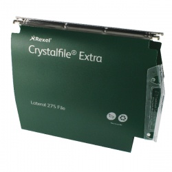 Rexel CrystalFile Extra 275mm Lateral Files 50mm Capacity Green (Pack of 25) 71763