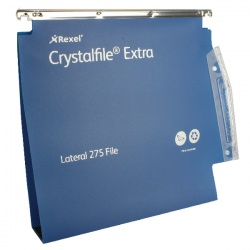 Rexel CrystalFile Extra 275mm Lateral Files 50mm Capacity Blue (Pack of 25) 71765