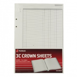 Rexel Twinlock Crown 3C F9 Treble Cash Refill Sheets (Pack of 100) 75849