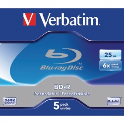 Verbatim Blu-ray BD-R 25 GB 6x Jewel Case (Pack of 5) 43715