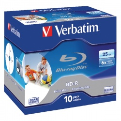 Verbatim Blu-ray BD-R 25 GB 6x Jewel Case (Pack of 10) 43713