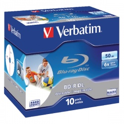 Verbatim Blu-ray BD-R 50 GB 6x Printable Jewel Case (Pack of 10) 43736