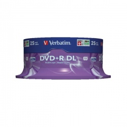 Verbatim 8.5GB 8X DVD+R Dual Layer Discs (Spindle of 25) 43757