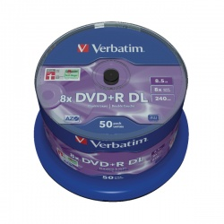 Verbatim 8.5GB 8X DVD+R Dual Layer Discs (Spindle of 50) 43758
