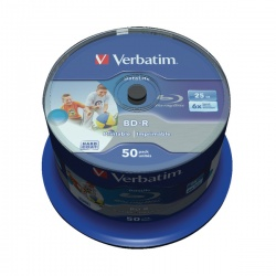 Verbatim Blu-ray BD-R 25 GB 6x Printable Spindle (Pack of 50) 43812