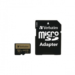 Verbatim Pro Plus MicroSDXC Memory Card Class 10 UHS-I U3 with Adapter 64GB 44034