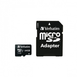 Verbatim Pro MicroSDXC Memory Card Class 10 UHS-I U3 with Adapter 64GB 47042