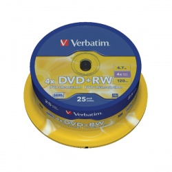 Verbatim DVD+RW 4x Spindle (Pack of 25) 43489