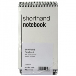 Whitebox Spiral Shorthand Notebook 150 Leaf (Pack of 10) WX31002